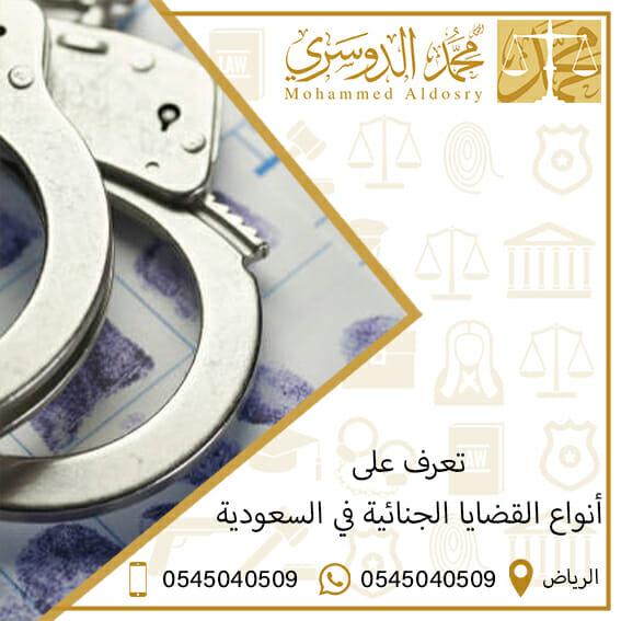 أنواع القضايا الجنائية في السعودية